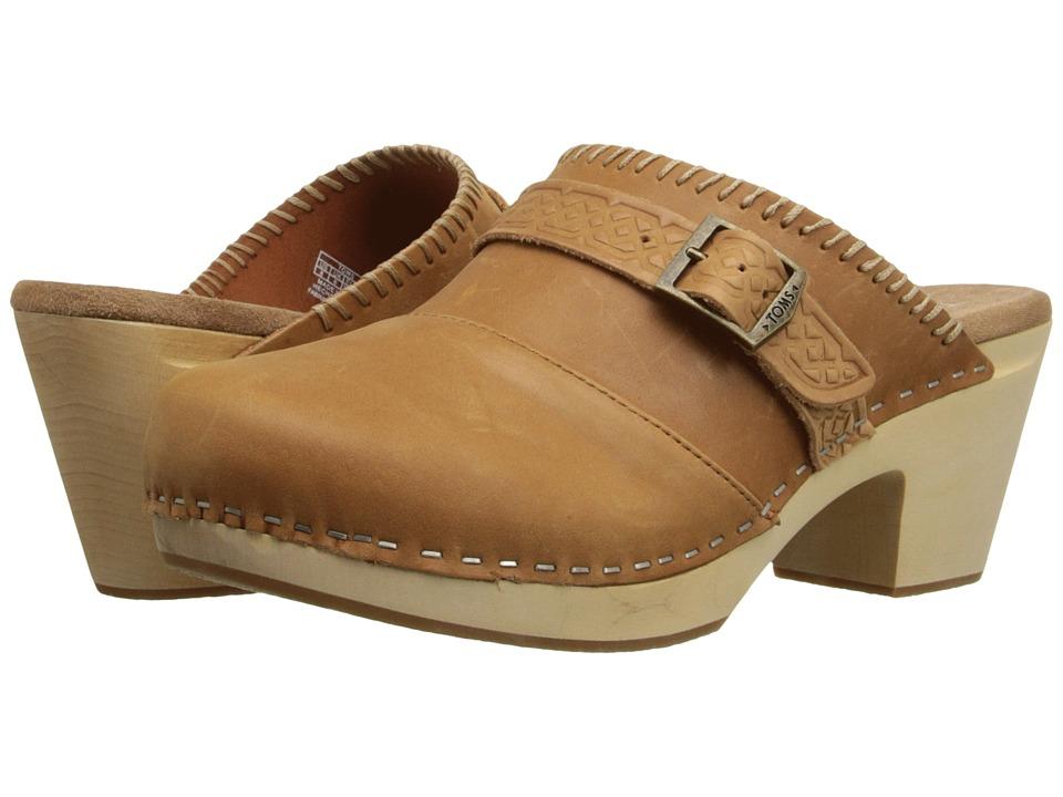 TOMS - Elisa Clog Sandal (Brown Leather) Women's Clog Shoes
