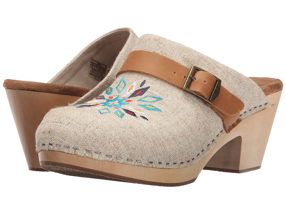 TOMS Elisa Clog Sandal Natural Linen Embroidery Womens Clog Shoes
