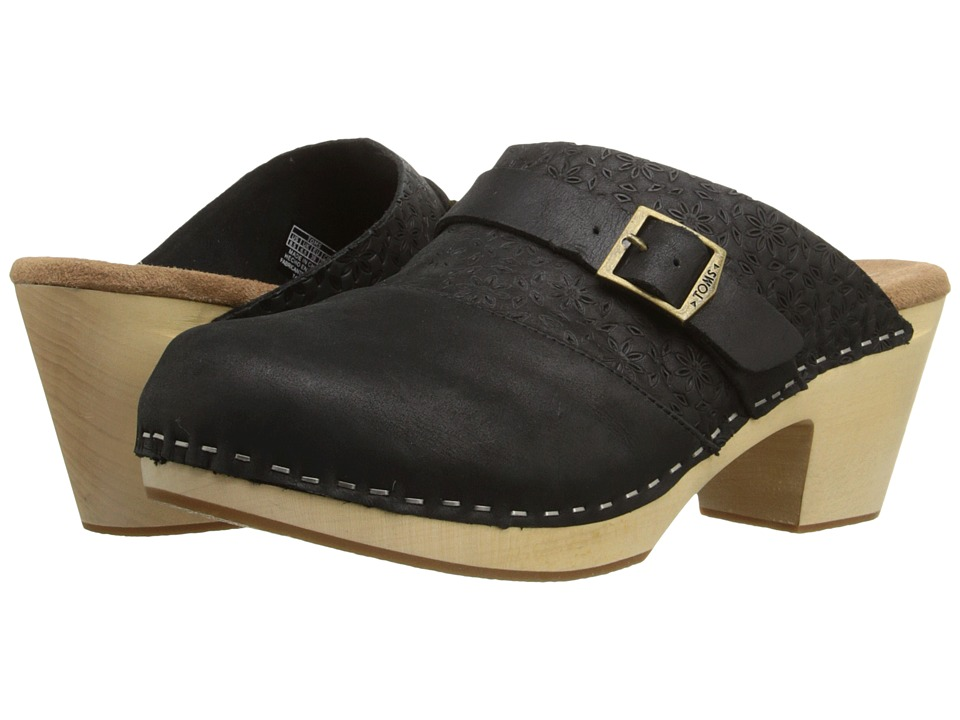 TOMS Elisa Clog Sandal Black Leather Womens Clog Shoes