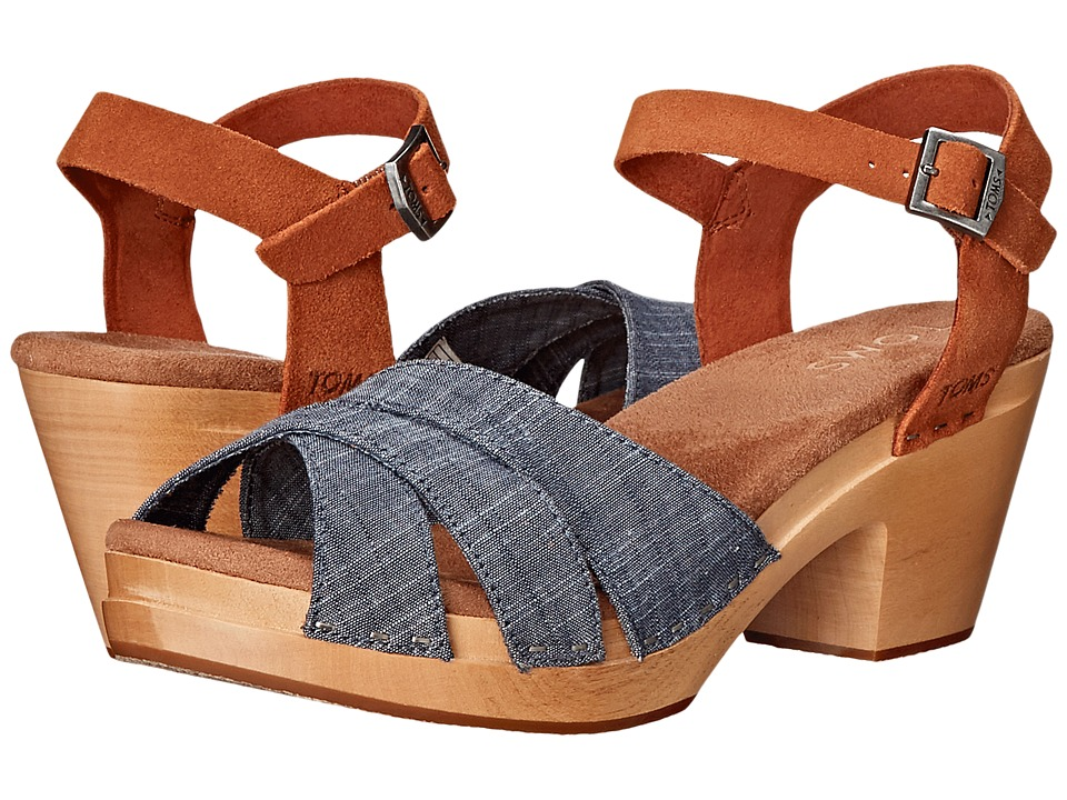 TOMS - Beatrix Clog Sandal (Chambray Brown Suede) Women's Clog/Mule Shoes
