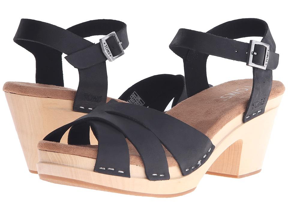 TOMS - Beatrix Clog Sandal (Black Leather) Women's Clog/Mule Shoes