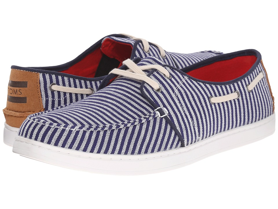 TOMS - Culver Lace-Up (Navy/White Stripe Woven) Men's Lace up casual Shoes