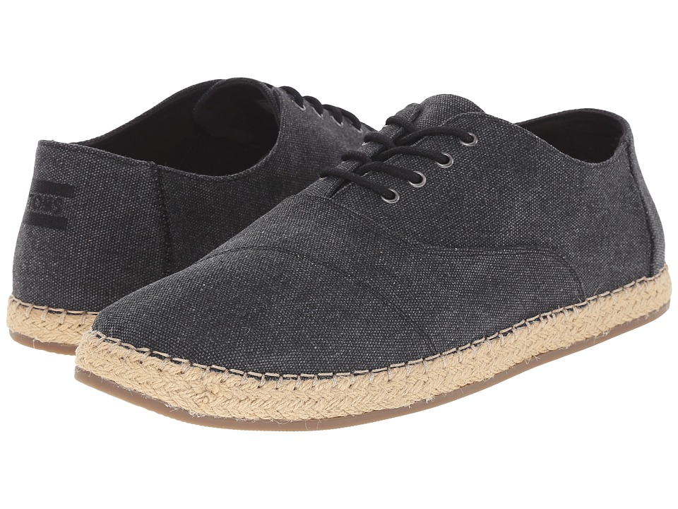 TOMS - Camino Lace-Up (Black Washed Canvas) Men's Lace up casual Shoes