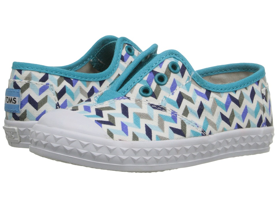 TOMS Kids - Zuma Sneaker (Infant/Toddler/Little Kid) (Turquoise Canvas Chevron) Kids Shoes