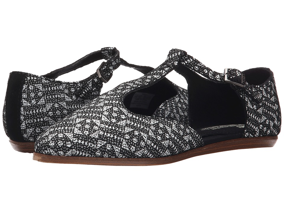 TOMS - Jutti T-Strap (Black/White Tiles Suede Printed) Women's Flat Shoes