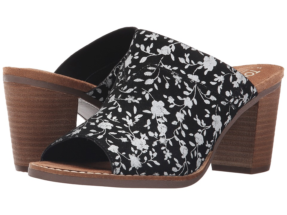 TOMS - Majorca Mule Sandal (Black/White Floral Suede) Women's Clog/Mule Shoes plus size,  plus size fashion plus size appare