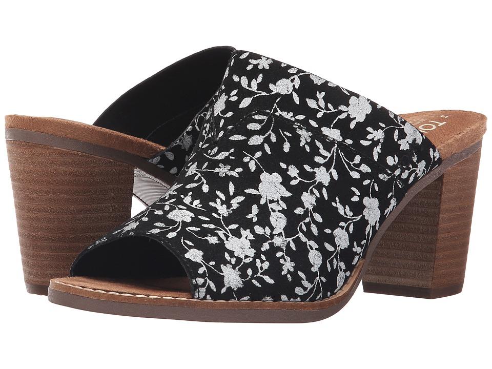 TOMS - Majorca Mule Sandal (Black/White Floral Suede) Women's Clog/Mule Shoes