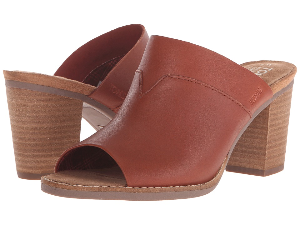 TOMS - Majorca Mule Sandal (Cognac Leather) Women's Clog/Mule Shoes