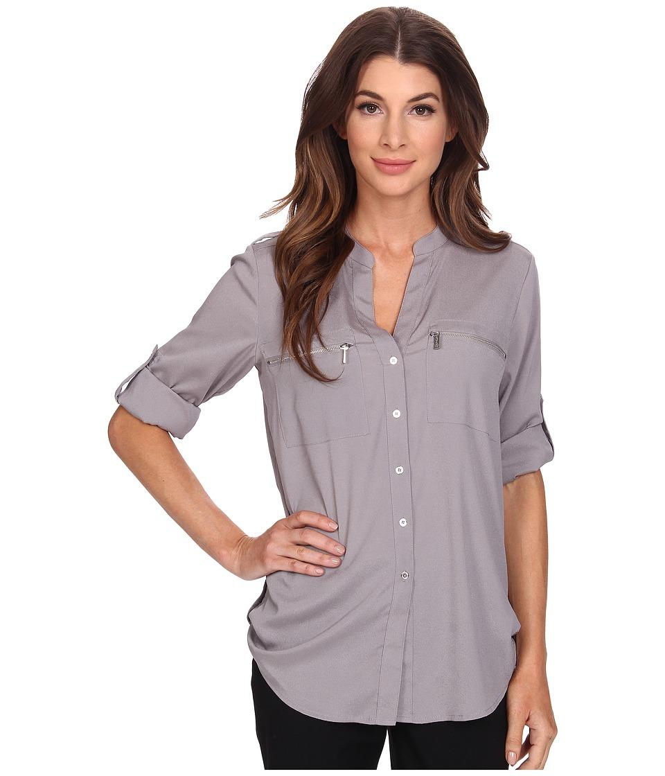 Calvin Klein - Zipper Roll Poly CDC Sleeve (Tin) Women's Blouse