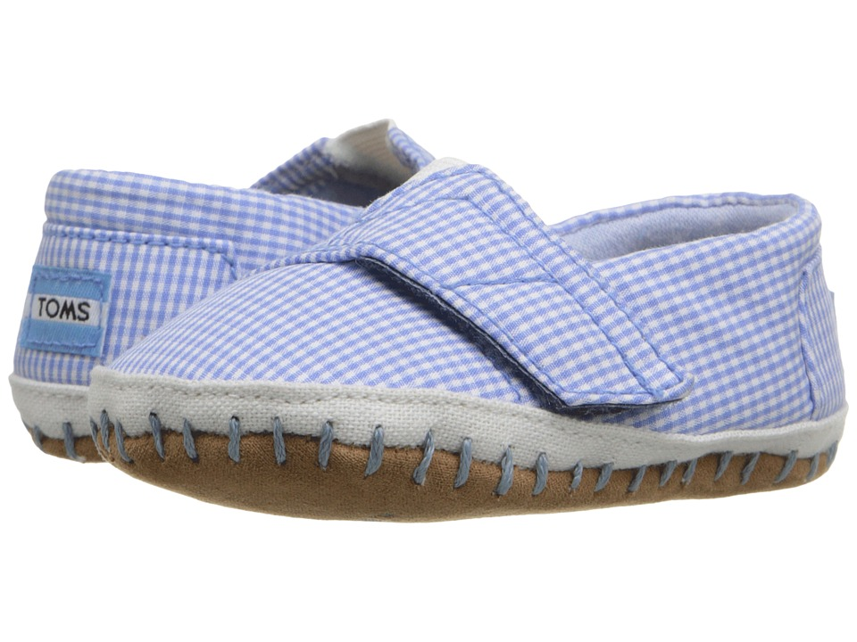 TOMS Kids - Crib Alparagata (Infant/Toddler) (Blue Gingham) Kid's Shoes