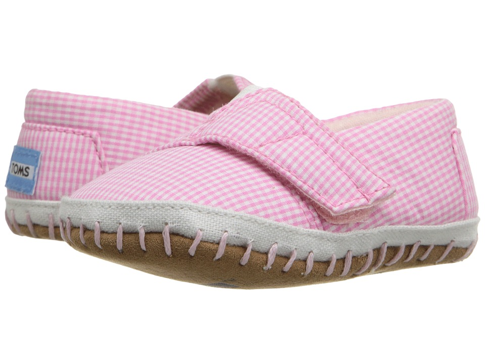 TOMS Kids - Crib Alparagata (Infant/Toddler) (Pink Gingham) Kid's Shoes