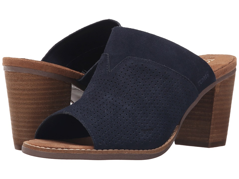 TOMS - Majorca Mule Sandal (Navy Suede Perforated) Women's Clog/Mule Shoes
