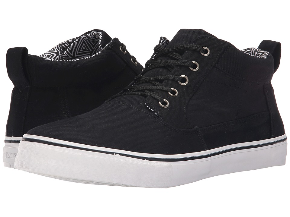 TOMS - Valdez Mid (Black Cotton Twill) Men's Lace up casual Shoes