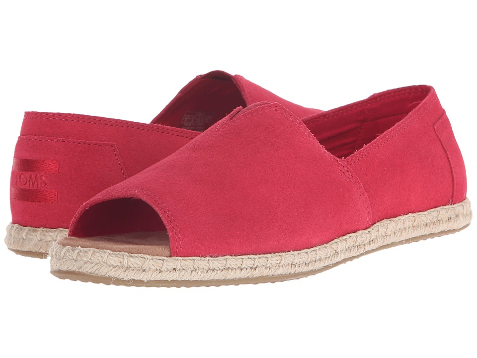 TOMS - Alpargata Open Toe (Raspberry Suede) Women's Flat Shoes