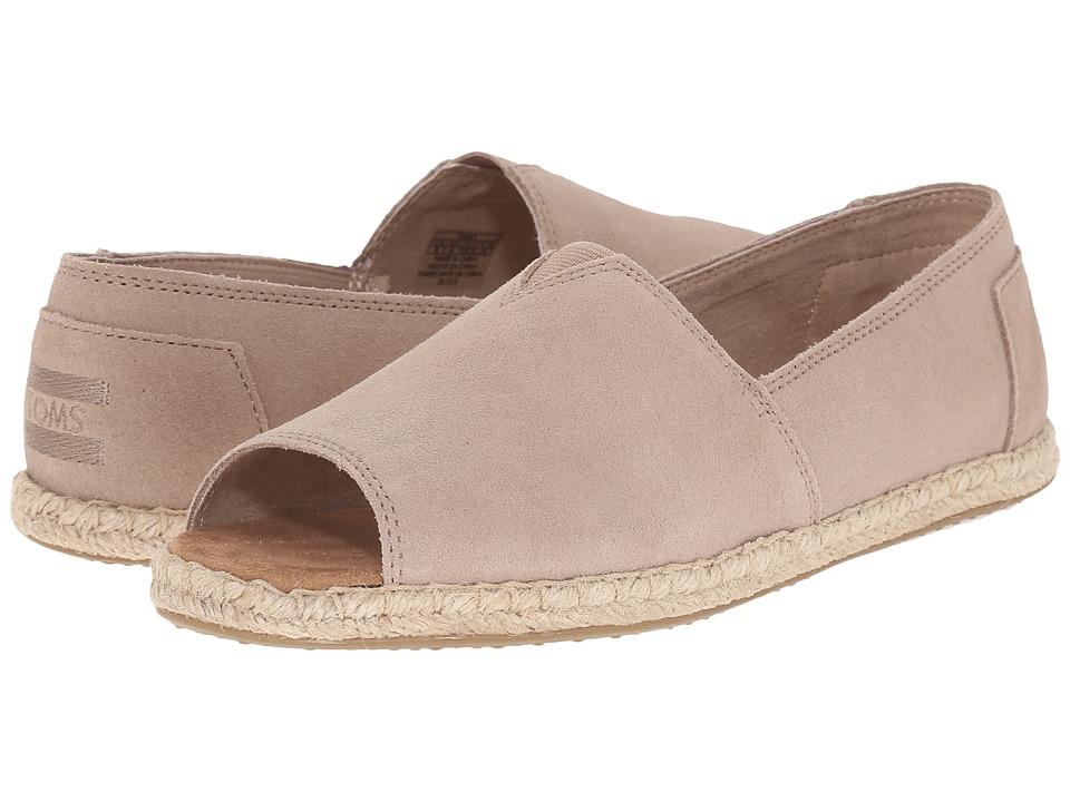 TOMS Alpargata Open Toe (Stucco Suede) Women's Flat Shoes