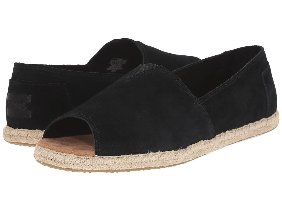 TOMS - Alpargata Open Toe (Black Suede) Women's Flat Shoes