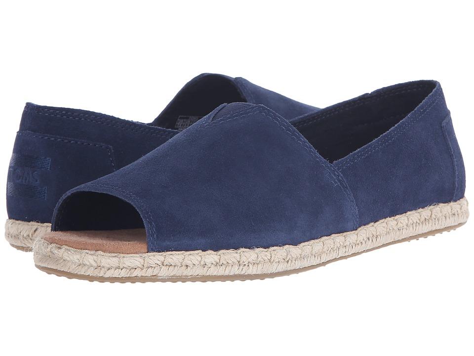 TOMS - Alpargata Open Toe (Navy Suede) Women's Flat Shoes
