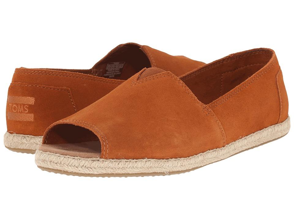 TOMS - Alpargata Open Toe (Cognac Suede) Women's Flat Shoes
