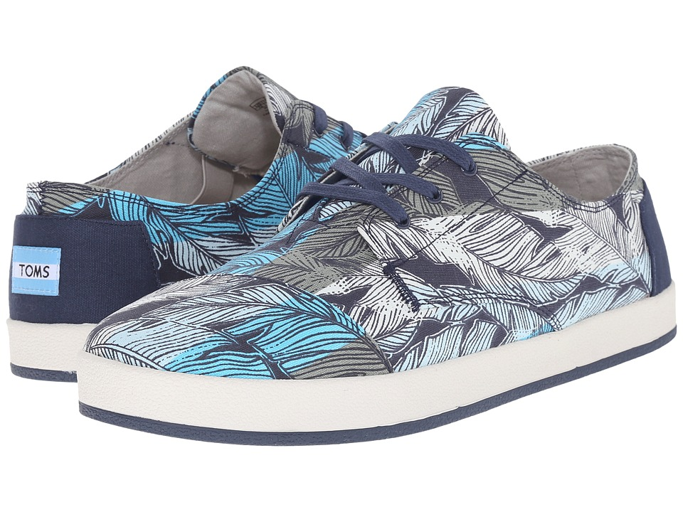 TOMS - Paseo (Aqua Blue Striped Leaf) Men's Lace up casual Shoes