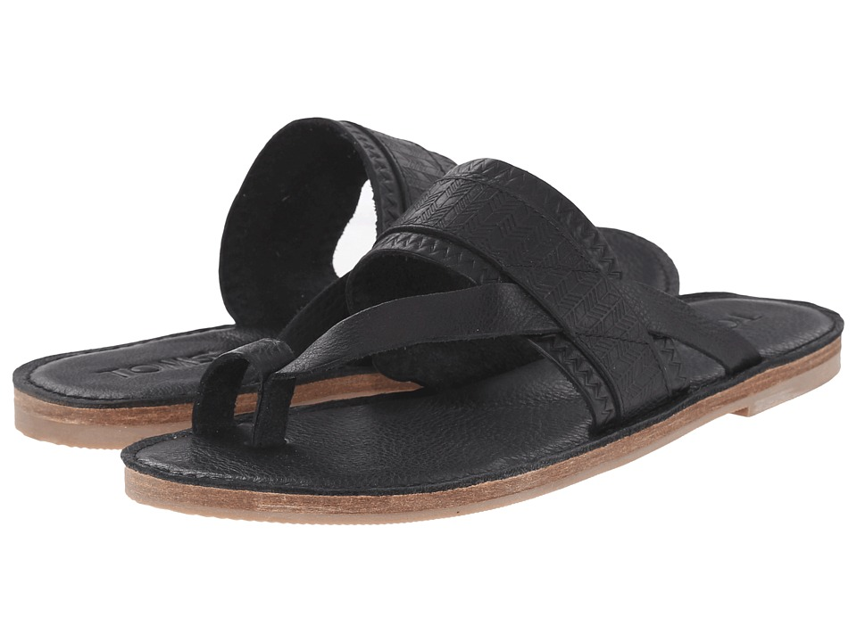 TOMS - Isabella Sandal (Black Full Grain Leather Embossed) Women's Sandals