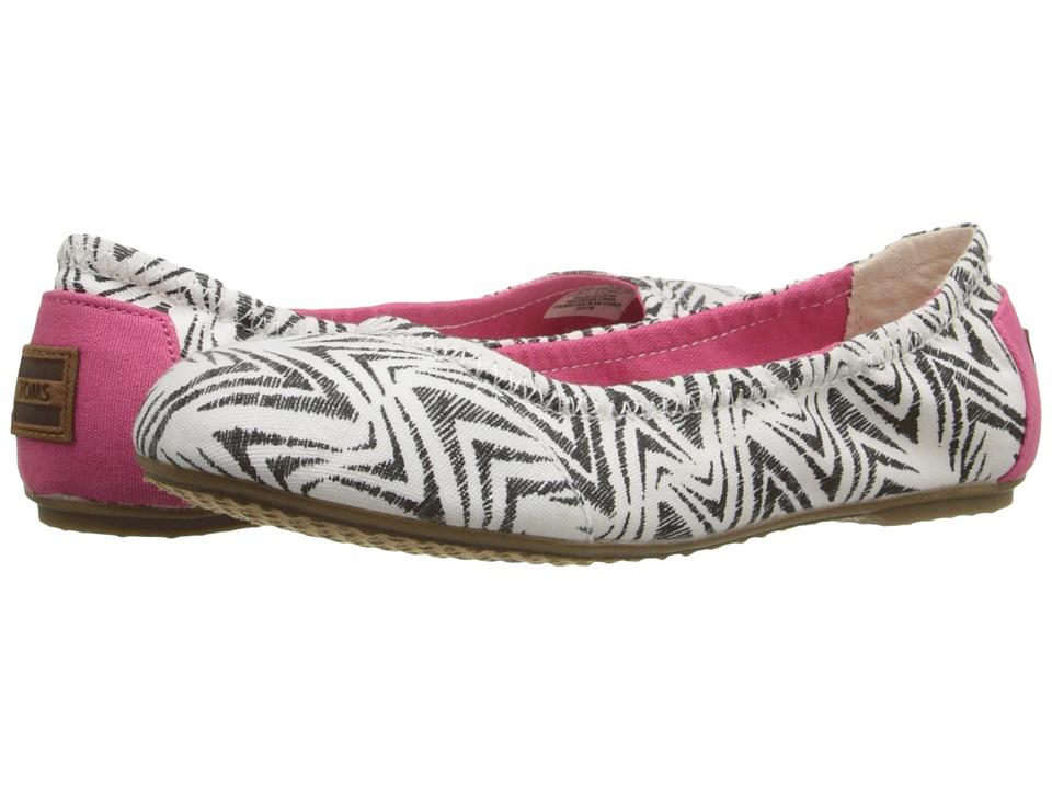 TOMS Kids - Ballet Flat (Little Kid/Big Kid) (Black Canvas Zebra) Girls Shoes