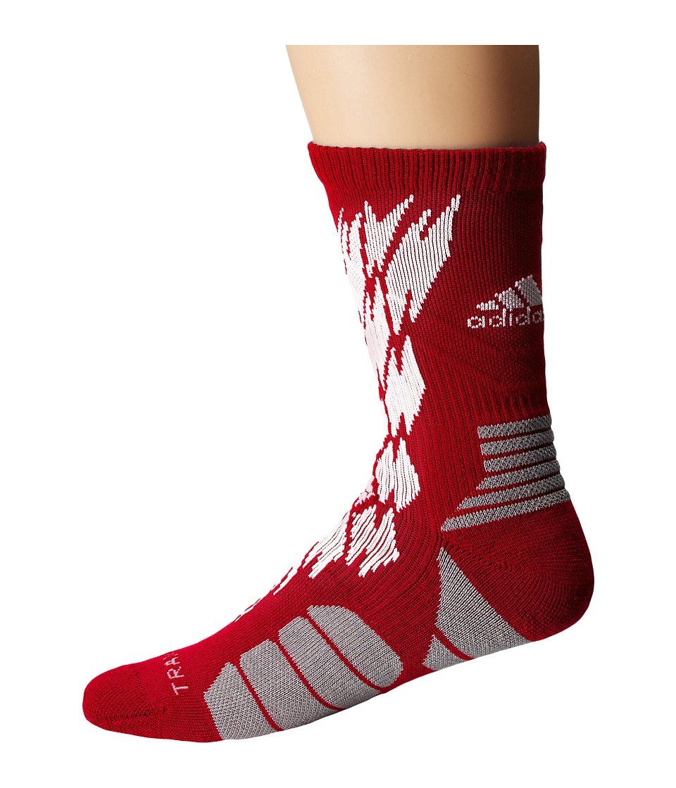 adidas - Traxion Impact Shockweb Crew Socks (Power Red/White/Light Onix) Crew Cut Socks Shoes