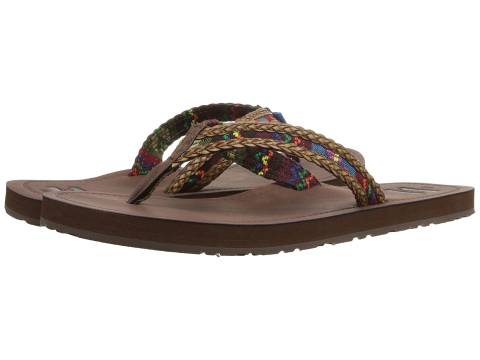 TOMS - Solana Flip Flop (Dark Brown/Green Mix Textile) Women's Sandals