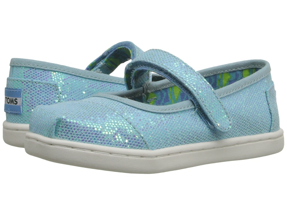TOMS Kids - Mary Jane Flat (Infant/Toddler/Little Kid) (Aqua Glimmer) Girls Shoes