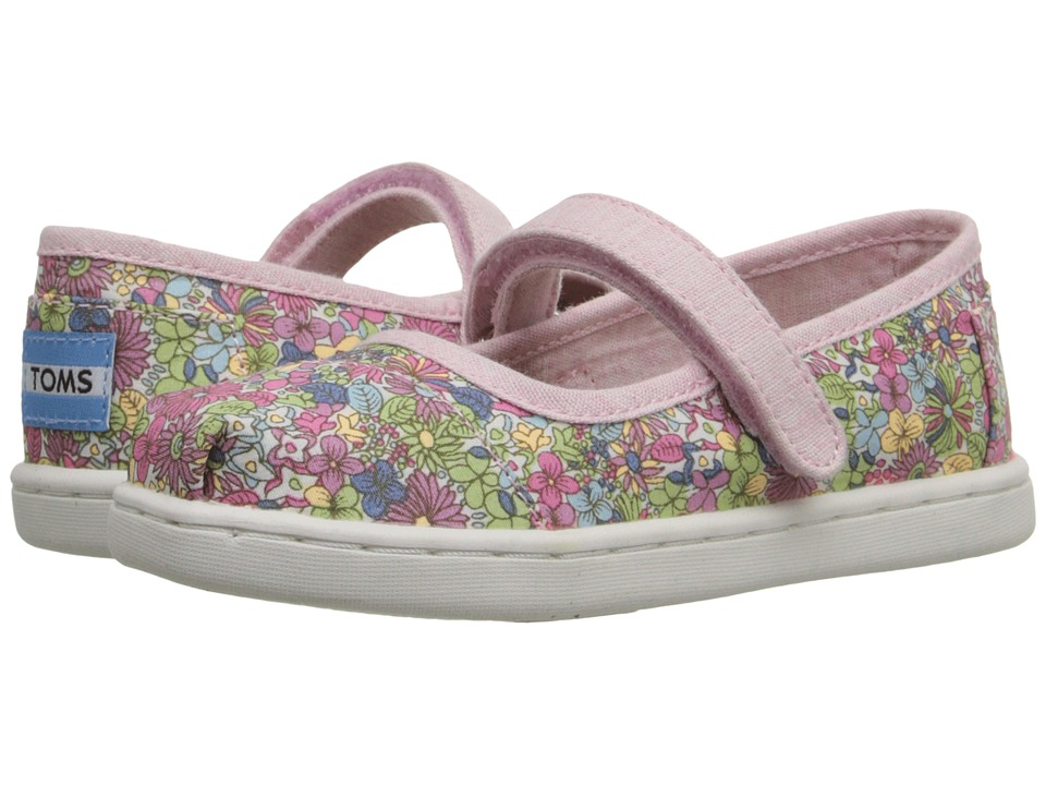 TOMS Kids - Mary Jane Flat (Infant/Toddler/Little Kid) (Pink Canvas Ditsy Floral) Girls Shoes