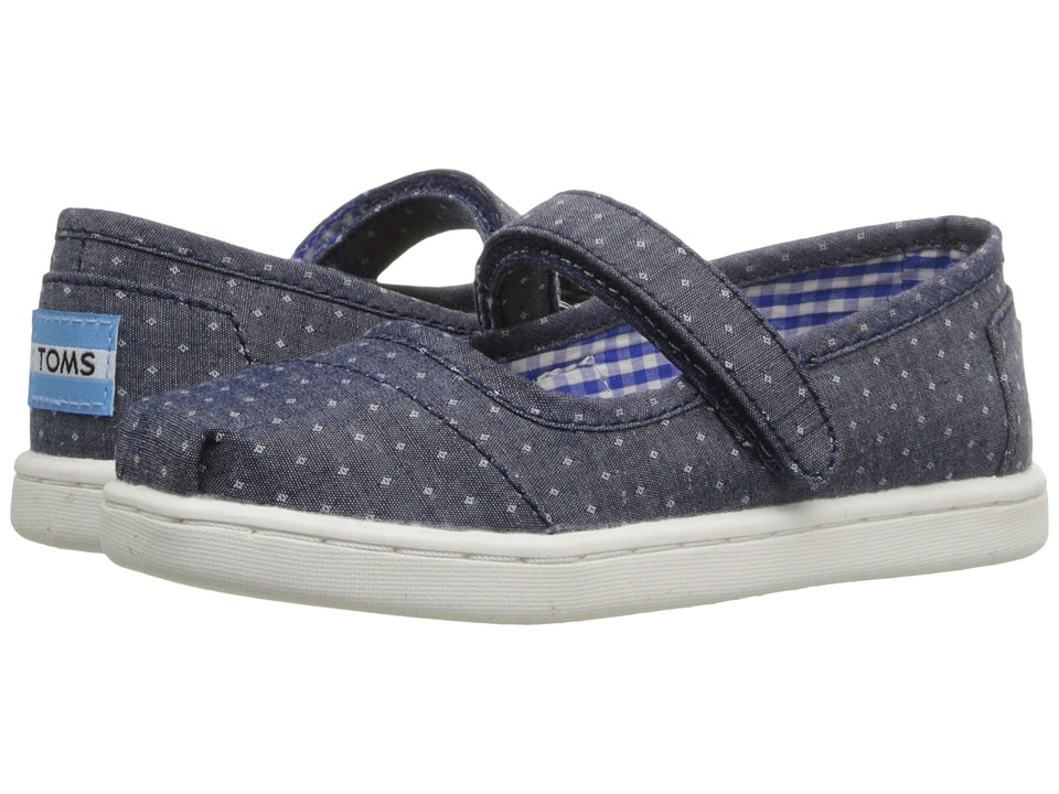 TOMS Kids - Mary Jane Flat (Infant/Toddler/Little Kid) (Blue Chambray Polka Dot) Girls Shoes