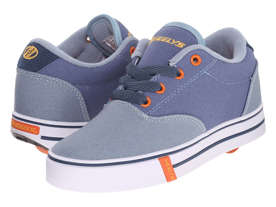 Heelys - Launch (Little Kid/Big Kid/Adult) (Denim/Light Blue/Orange) Boys Shoes