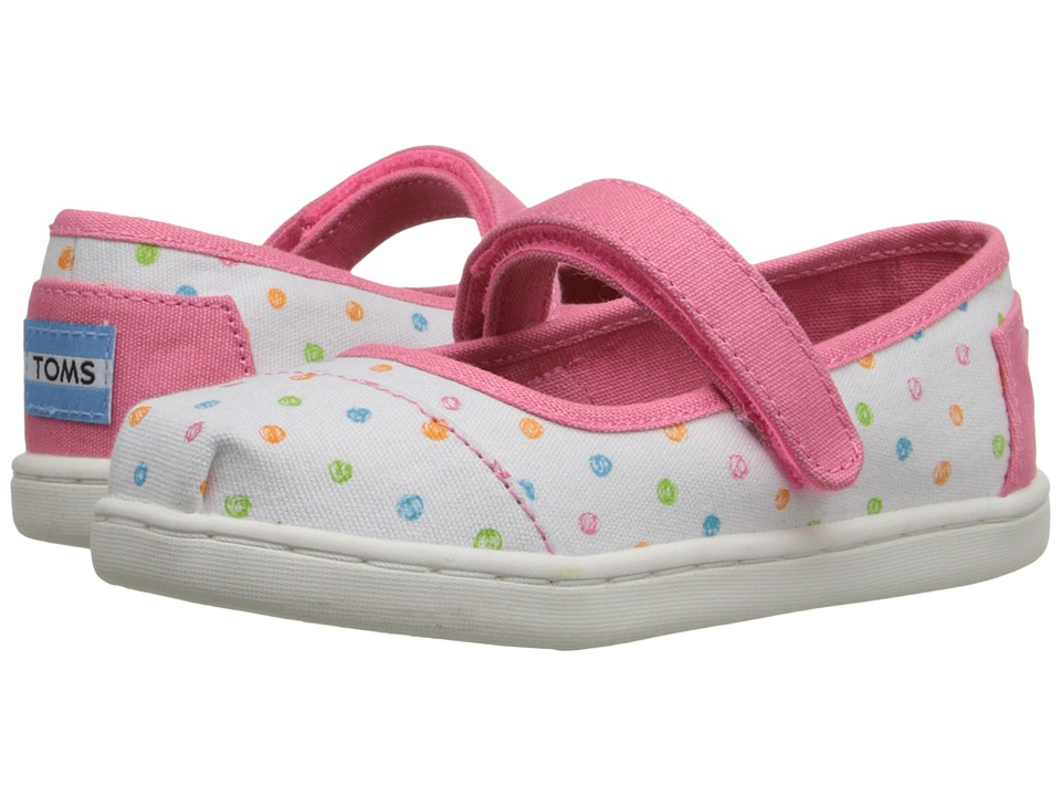 TOMS Kids - Mary Jane Flat (Infant/Toddler/Little Kid) (White Canvas Scribble Dots) Girls Shoes