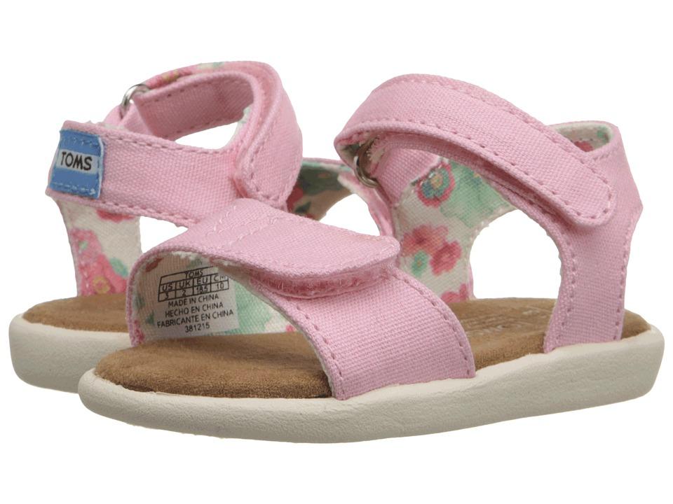 TOMS Kids Strappy Sandal (Infant/Toddler/Little Kid) (Pink Canvas) Girls Shoes