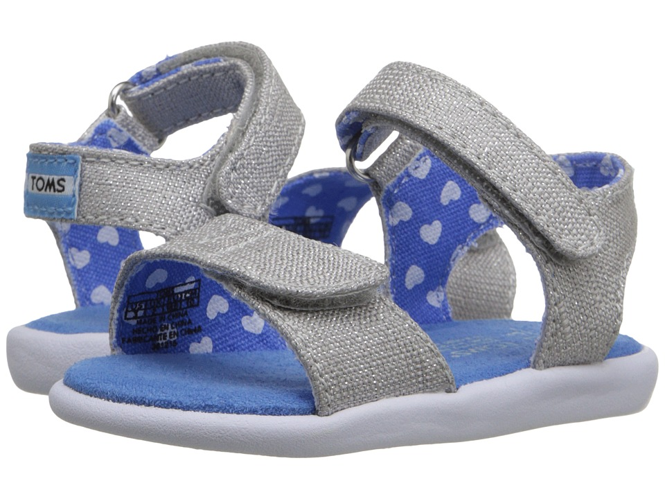 TOMS Kids - Strappy Sandal (Infant/Toddler/Little Kid) (Silver Linen Glimmer) Girls Shoes