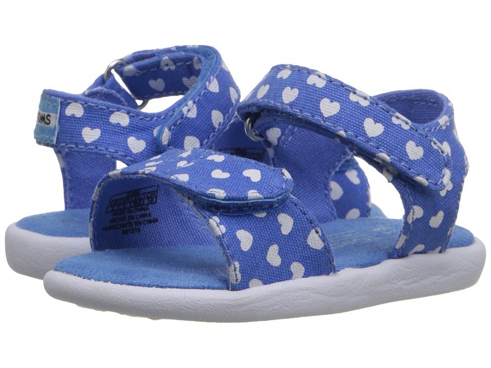 TOMS Kids - Strappy Sandal (Infant/Toddler/Little Kid) (Blue Canvas Hearts) Girls Shoes