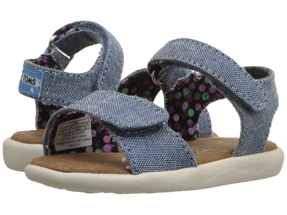 TOMS Kids - Strappy Sandal (Infant/Toddler/Little Kid) (Light Navy Chambray) Girls Shoes