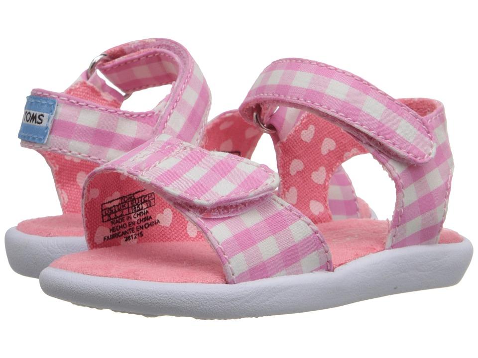 TOMS Kids Strappy Sandal (Infant/Toddler/Little Kid) (Pink Gingham) Girls Shoes
