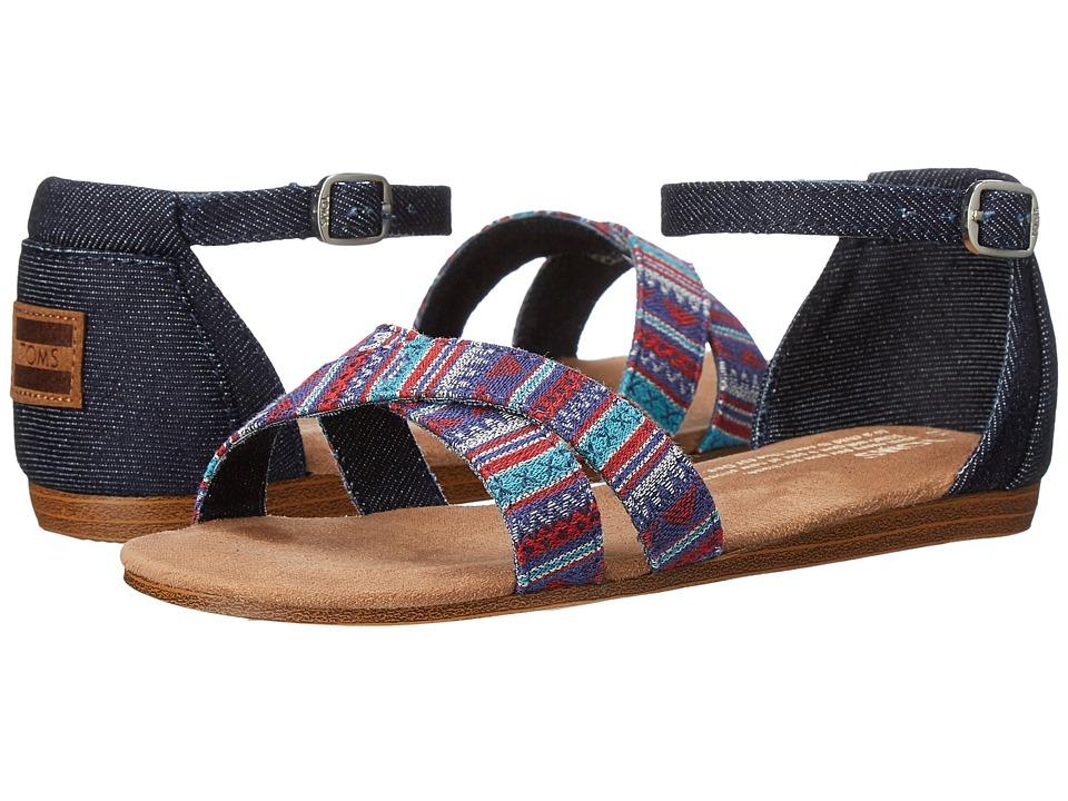 TOMS Kids - Correa Sandal (Little Kid/Big Kid) (Blue Denim Geo Textile) Girls Shoes