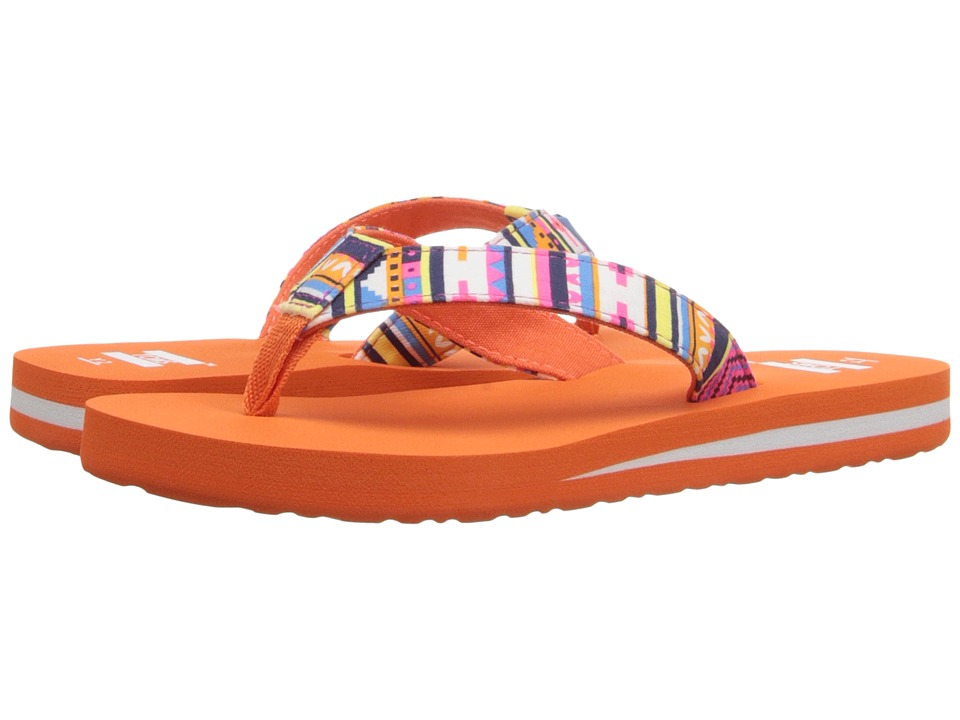 TOMS Kids - Verano Flip Flip (Little Kid/Big Kid) (Orange Multi Geo Textile) Kids Shoes