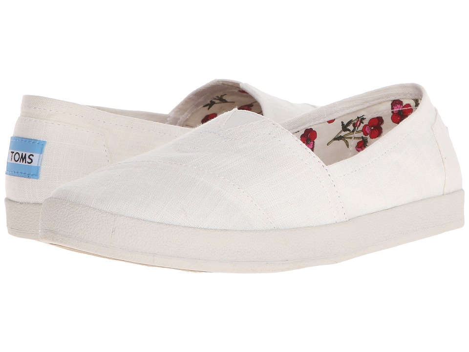TOMS - Avalon Slip-On (White Linen) Women's Slip on Shoes