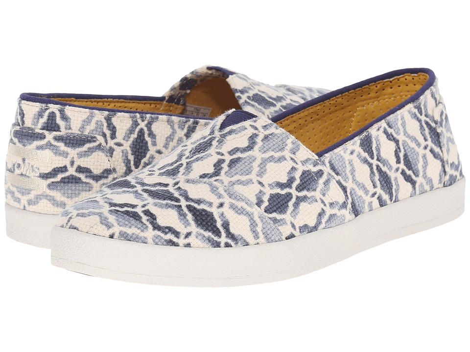 TOMS - Avalon Slip-On (Natural Blue Textured Canvas Tile) Women's Slip on Shoes