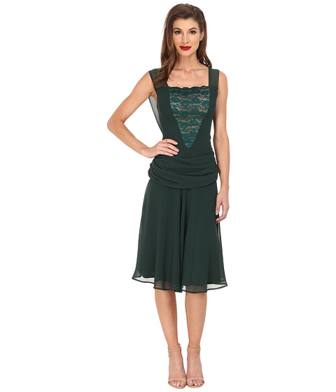 Unique Vintage - Chiffon La Plante Flapper Dress (Green) Women