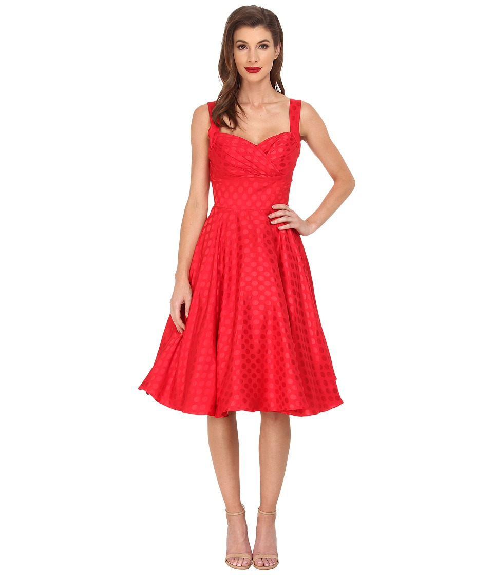 Unique Vintage - Dotted Happily Ever After Dress (Red) Women's Dress