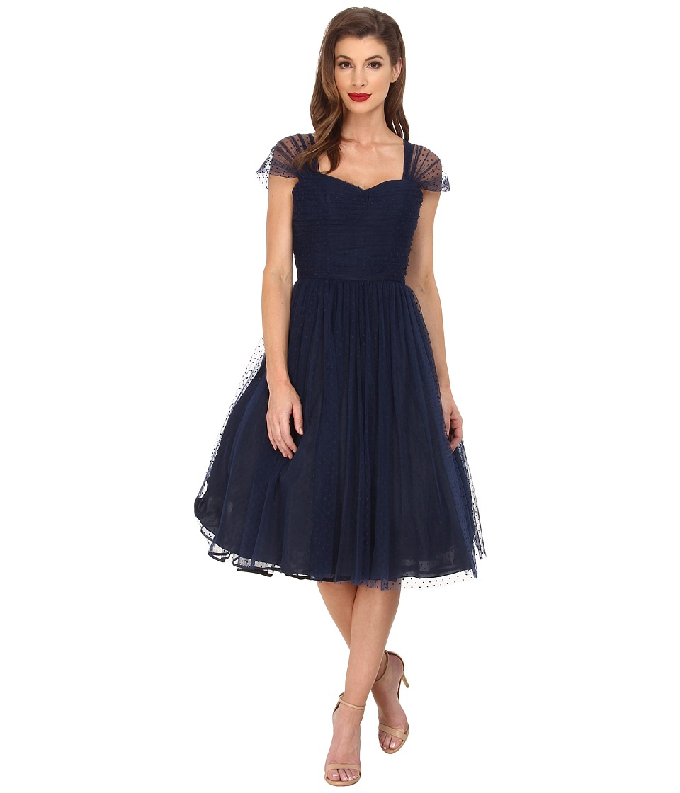 Unique Vintage - Dotted Garden State Dress (Navy) Women's Dress
