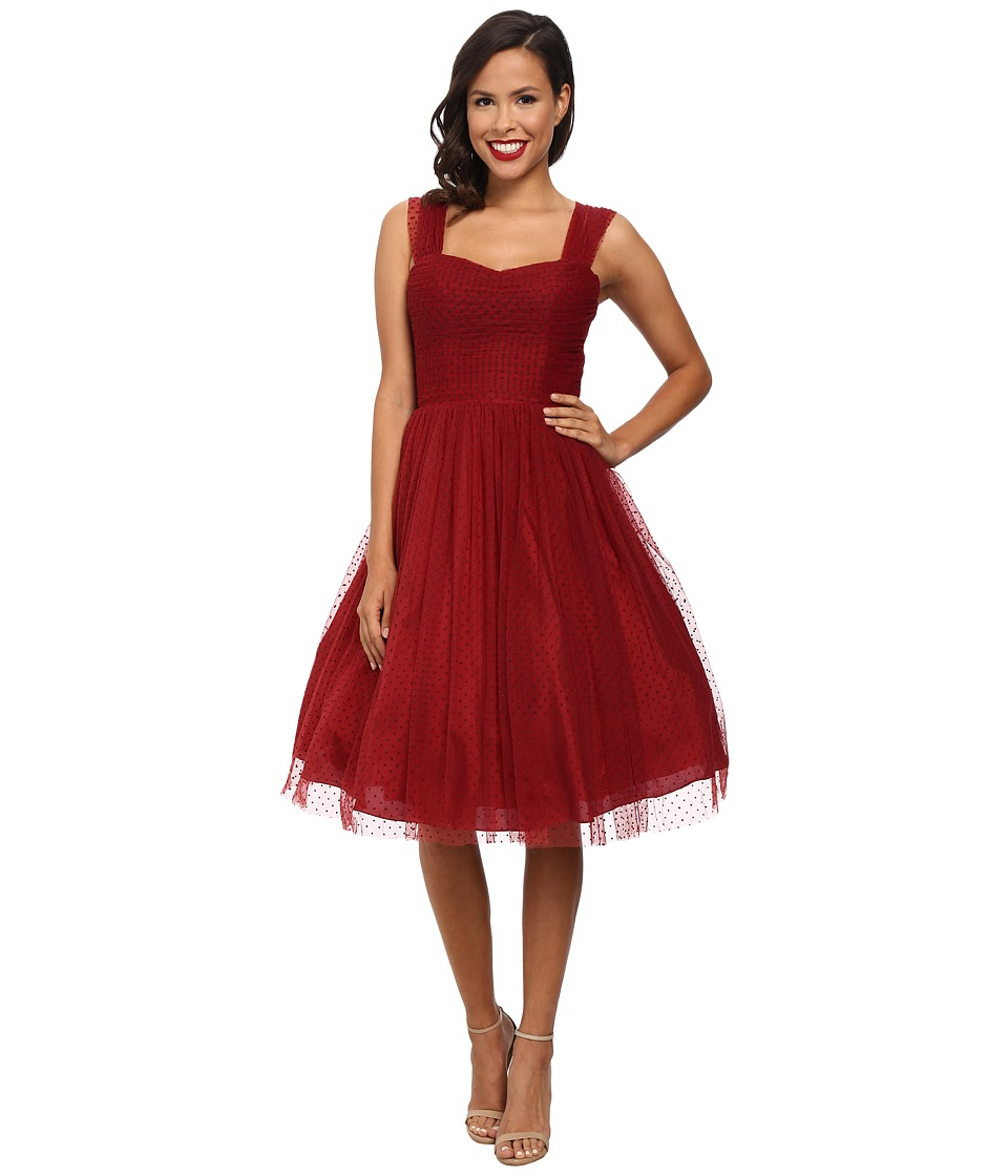 Unique Vintage - Dotted Garden State Dress (Burgundy) Women
