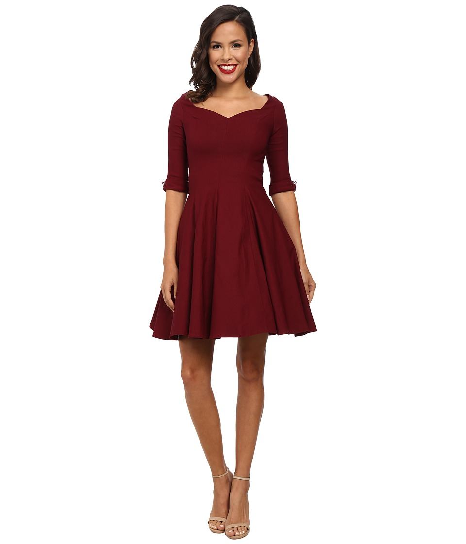 Unique Vintage - 3/4 Sleeve Grace Dress (Burgundy) Women