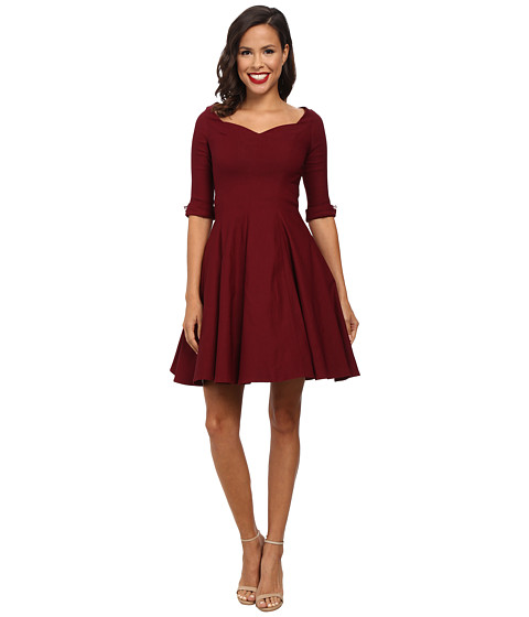 Unique Vintage - 3/4 Sleeve Grace Dress (Burgundy) Women's Dress