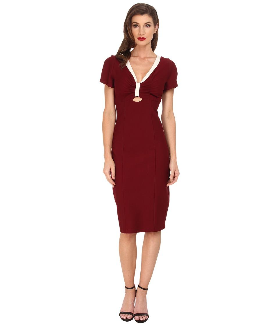 Unique Vintage - Bombshell Stretch Dress (Burgundy) Women's Dress