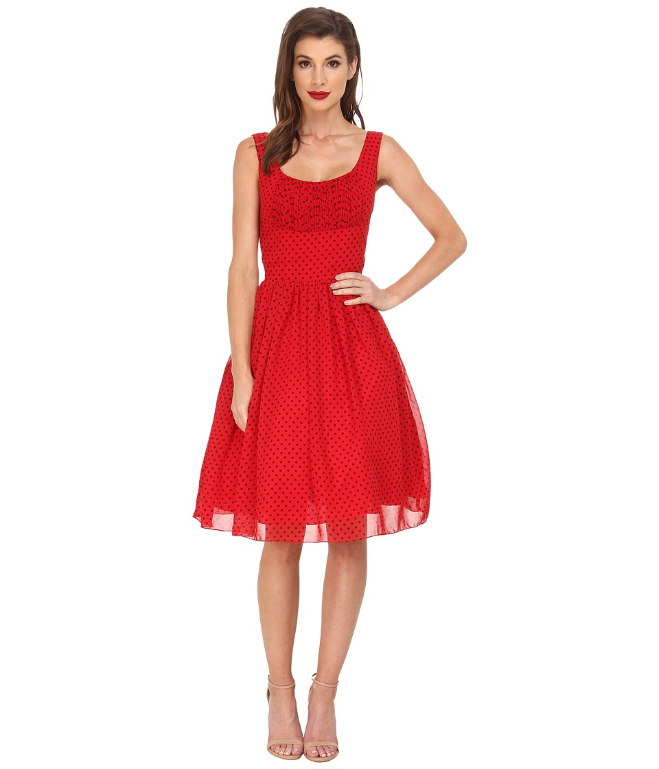 Unique Vintage - Polka Dot Barcelona Chiffon Dress (Red/Black) Women's Dress
