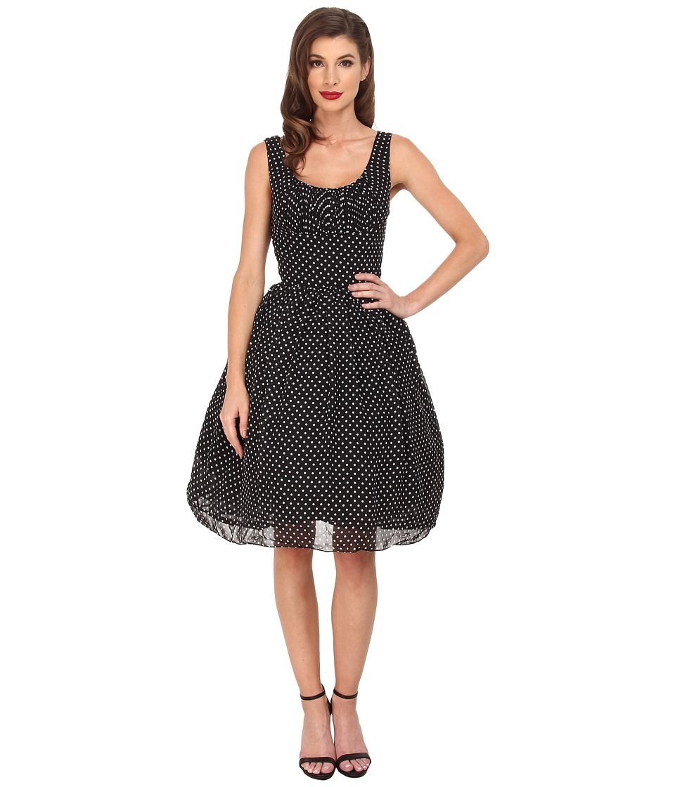 Unique Vintage - Polka Dot Barcelona Chiffon Dress (Black/White) Women's Dress